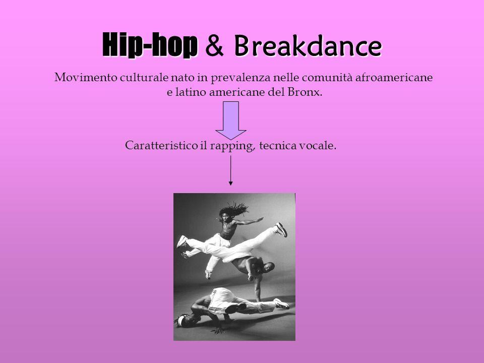 Hip-hop & Breakdance Movimento culturale nato in prevalenza nelle comunità afroamericane. e latino americane del Bronx.