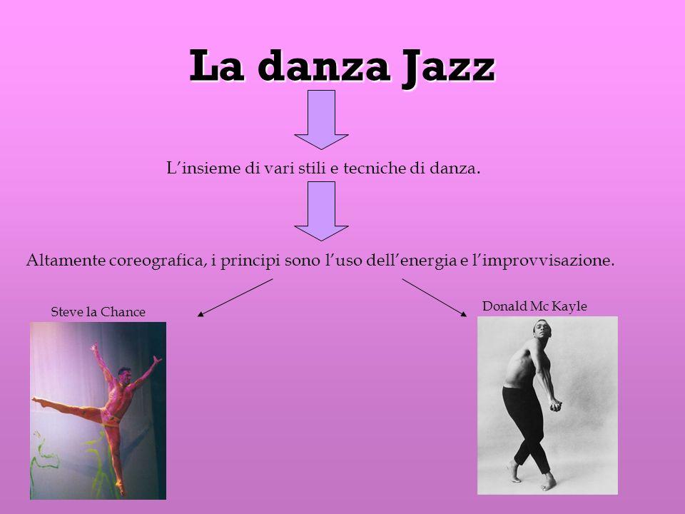 La danza Jazz L'insieme di vari stili e tecniche di danza.