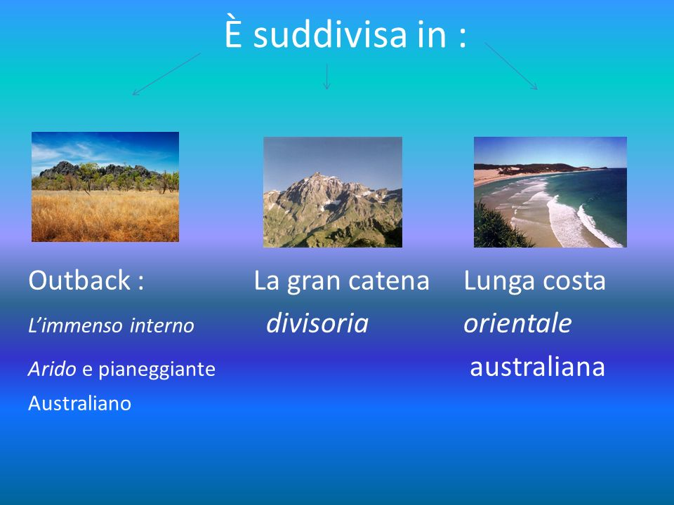 È suddivisa in : Outback : La gran catena Lunga costa