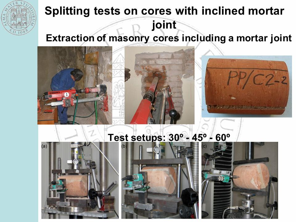 Splitting tests on cores with inclined mortar joint