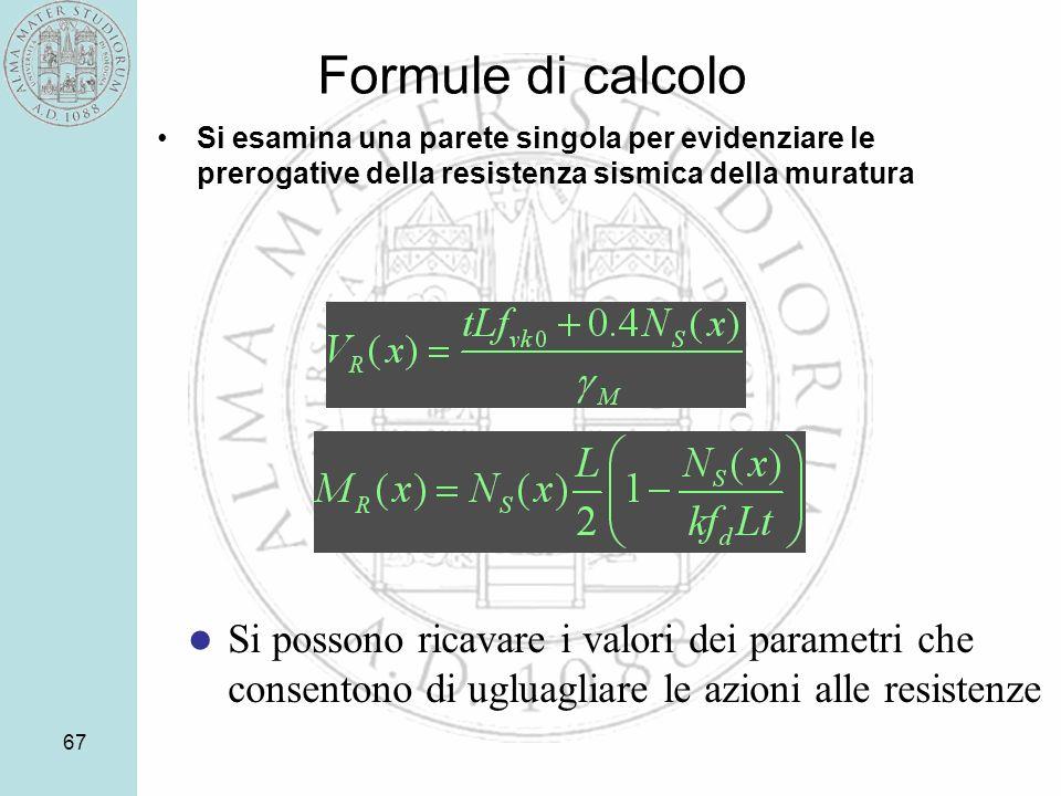Formule di calcolo Si esamina una parete singola per evidenziare le prerogative della resistenza sismica della muratura.
