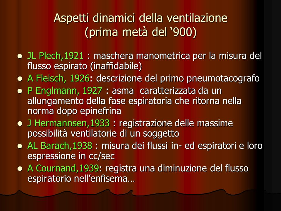 Aspetti dinamici della ventilazione (prima metà del '900)