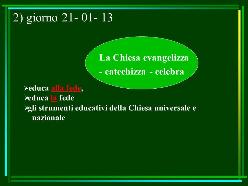 2) giorno 21- 01- 13 La Chiesa evangelizza - catechizza - celebra