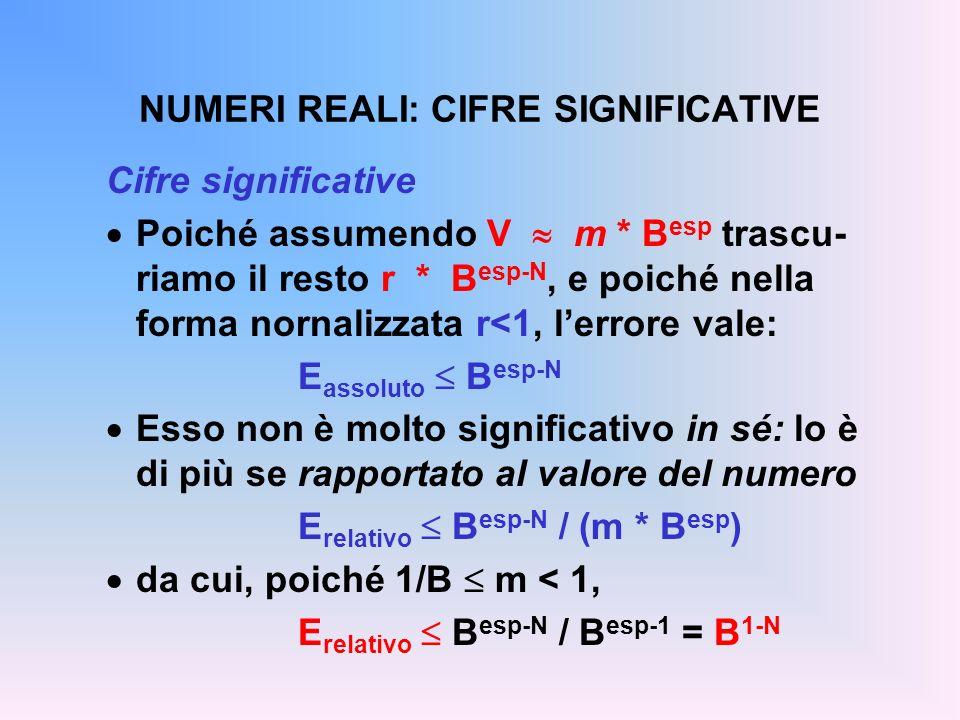 NUMERI REALI: CIFRE SIGNIFICATIVE