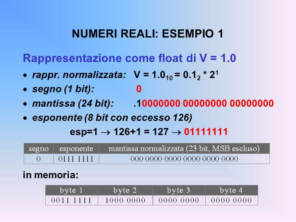 Rappresentazione come float di V = 1.0