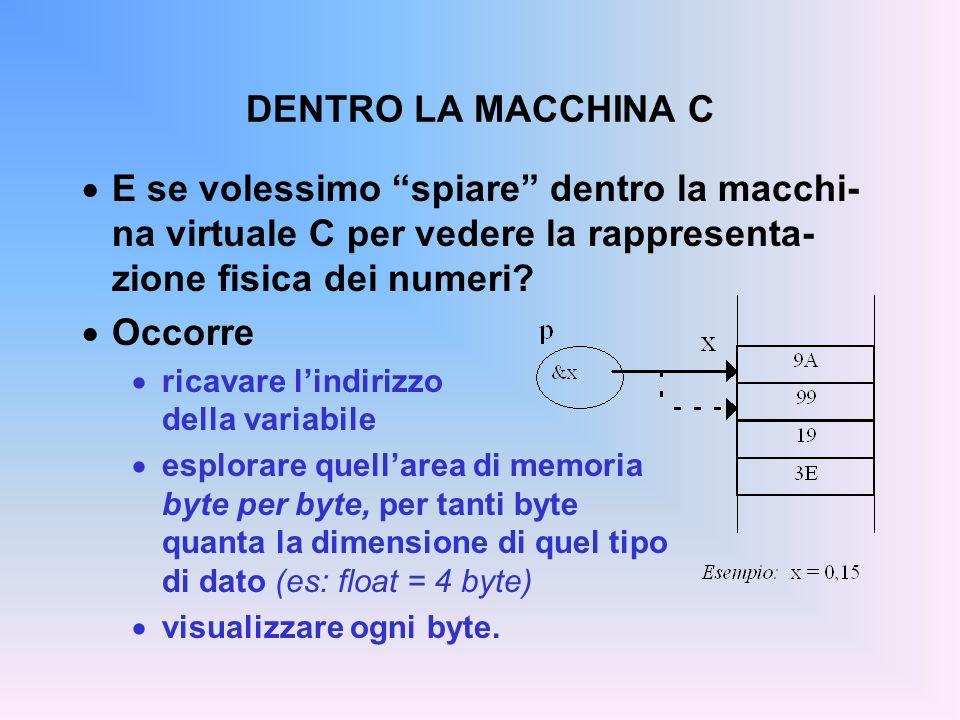 DENTRO LA MACCHINA C E se volessimo spiare dentro la macchi-na virtuale C per vedere la rappresenta-zione fisica dei numeri