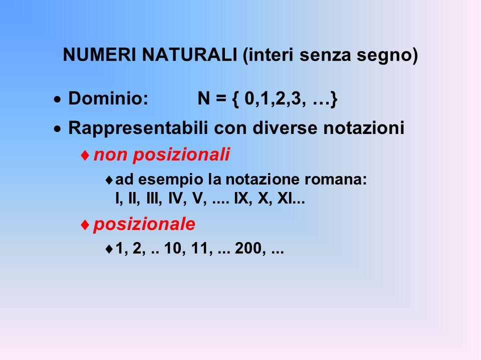 NUMERI NATURALI (interi senza segno)