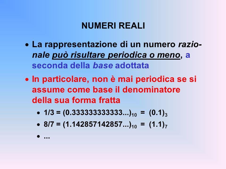 NUMERI REALI La rappresentazione di un numero razio-nale può risultare periodica o meno, a seconda della base adottata.