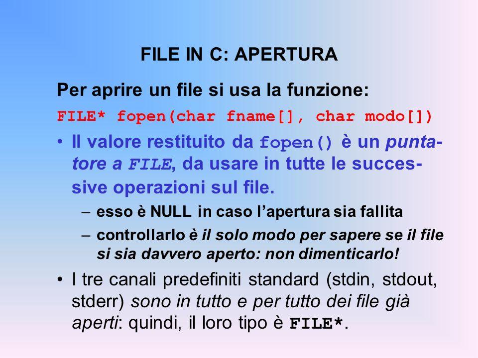 Per aprire un file si usa la funzione: