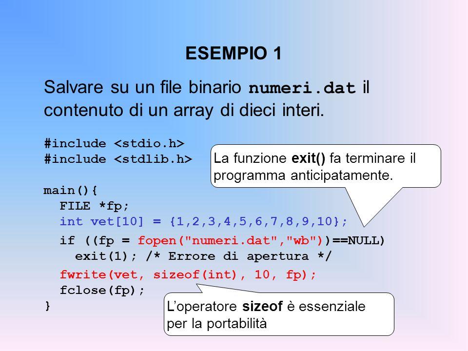 ESEMPIO 1 Salvare su un file binario numeri.dat il contenuto di un array di dieci interi. #include <stdio.h>