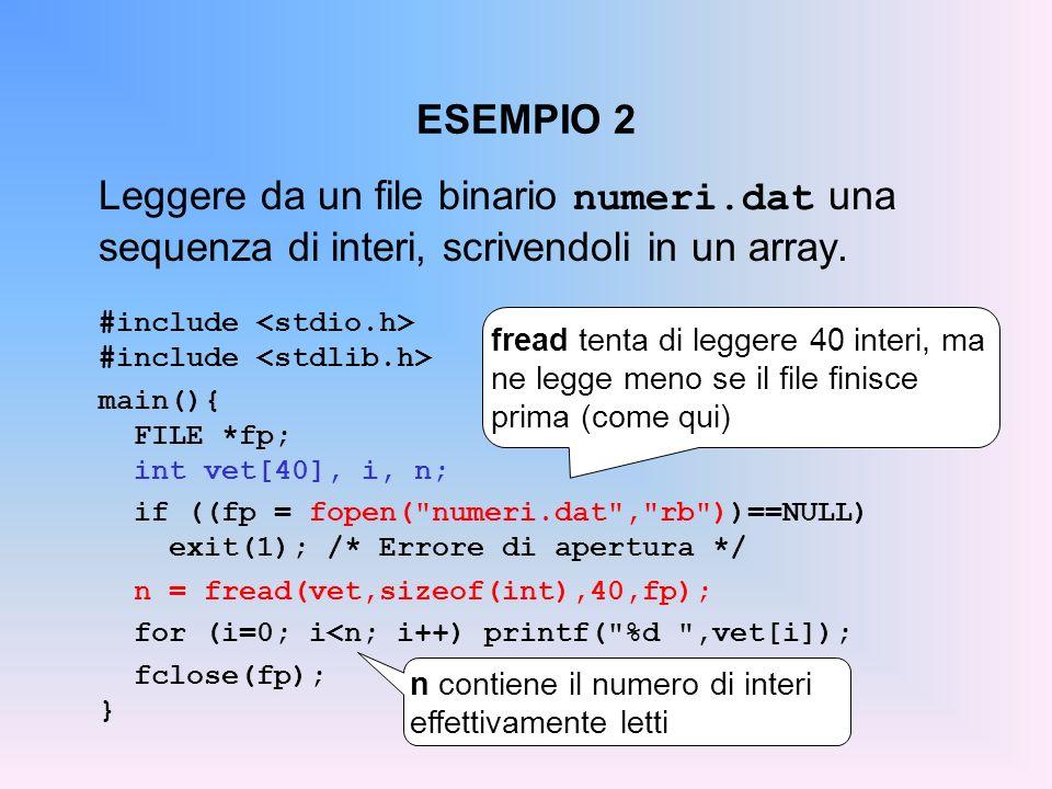 ESEMPIO 2Leggere da un file binario numeri.dat una sequenza di interi, scrivendoli in un array. #include <stdio.h>