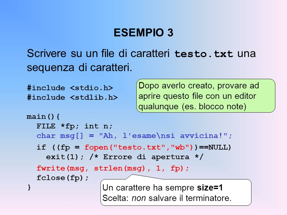 Scrivere su un file di caratteri testo.txt una sequenza di caratteri.