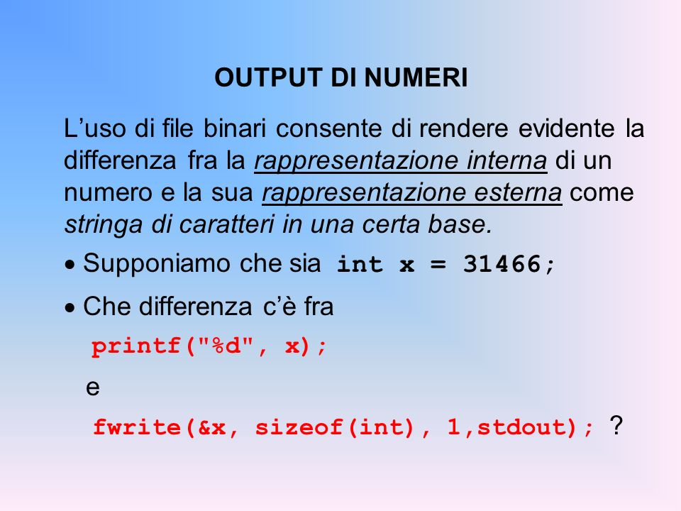 Supponiamo che sia int x = 31466; Che differenza c'è fra