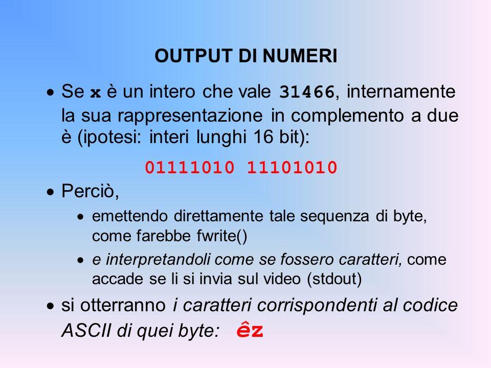 OUTPUT DI NUMERI Se x è un intero che vale 31466, internamente la sua rappresentazione in complemento a due è (ipotesi: interi lunghi 16 bit):