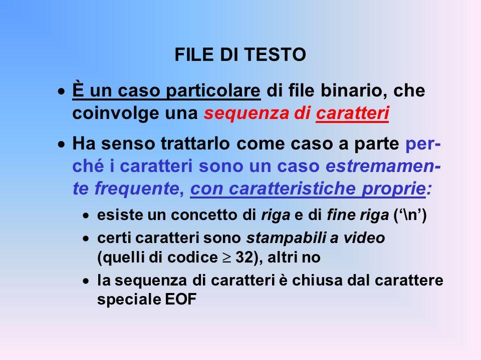 FILE DI TESTO È un caso particolare di file binario, che coinvolge una sequenza di caratteri.