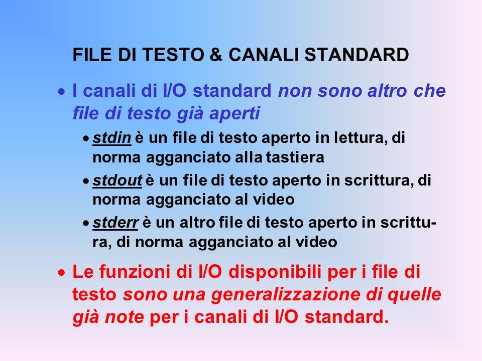 FILE DI TESTO & CANALI STANDARD