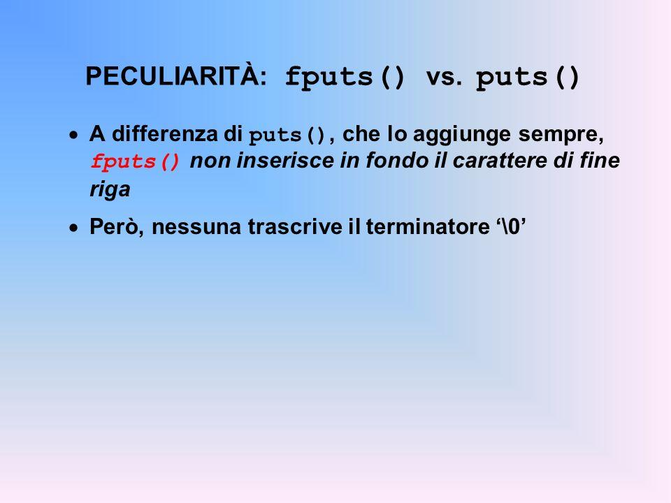 PECULIARITÀ: fputs() vs. puts()