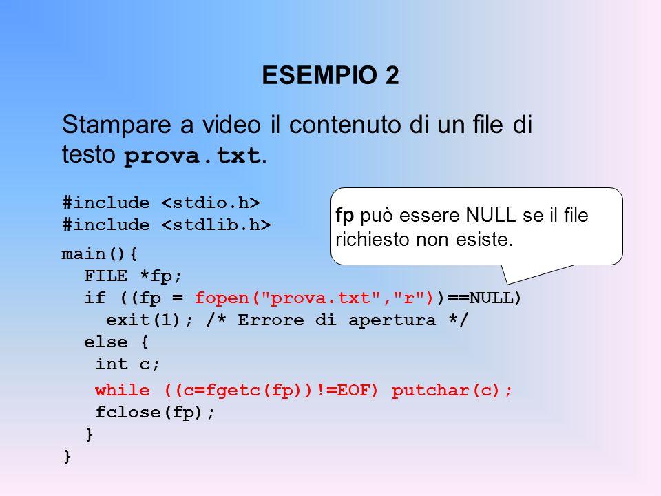 Stampare a video il contenuto di un file di testo prova.txt.