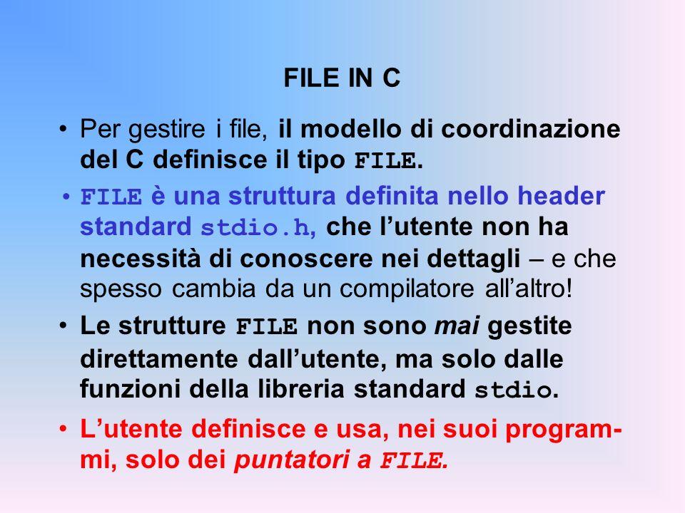 FILE IN C Per gestire i file, il modello di coordinazione del C definisce il tipo FILE.