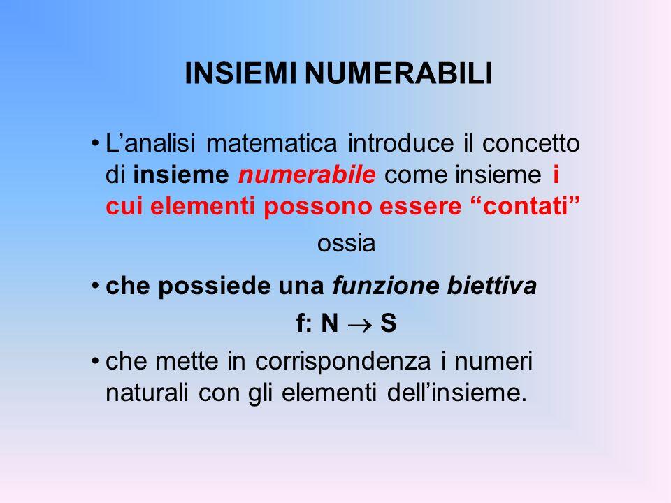 INSIEMI NUMERABILI L'analisi matematica introduce il concetto di insieme numerabile come insieme i cui elementi possono essere contati
