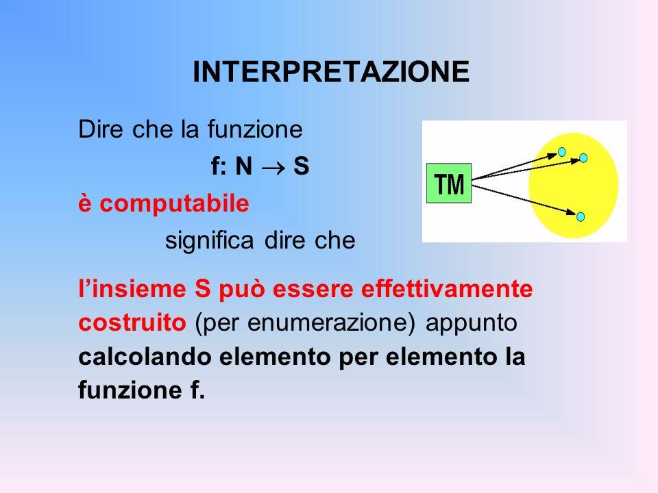 INTERPRETAZIONE Dire che la funzione f: N ® S è computabile