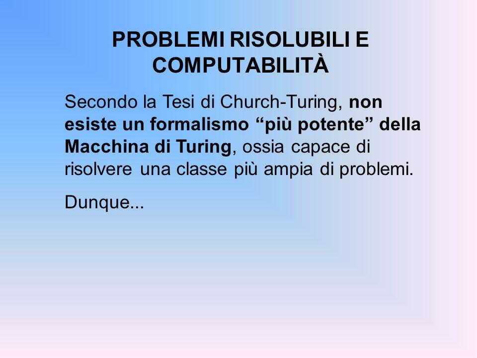 PROBLEMI RISOLUBILI E COMPUTABILITÀ