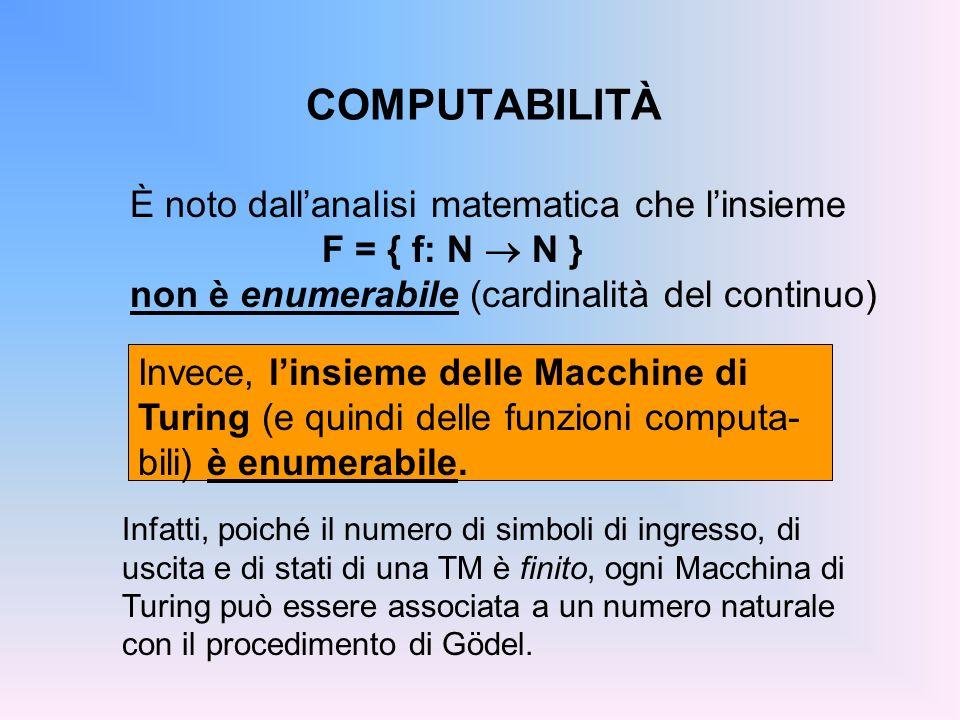 COMPUTABILITÀ È noto dall'analisi matematica che l'insieme F = { f: N ® N } non è enumerabile (cardinalità del continuo)