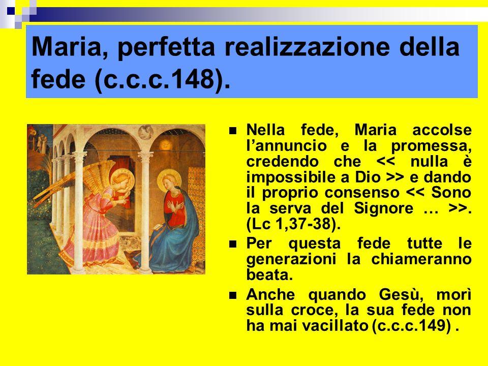 Maria, perfetta realizzazione della fede (c.c.c.148).