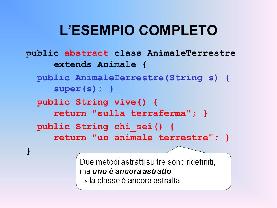 L'ESEMPIO COMPLETOpublic abstract class AnimaleTerrestre extends Animale { public AnimaleTerrestre(String s) { super(s); }