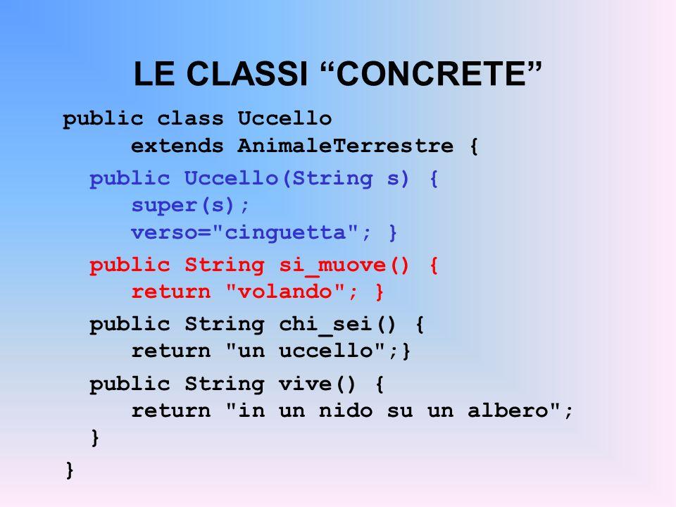 LE CLASSI CONCRETE public class Uccello extends AnimaleTerrestre {