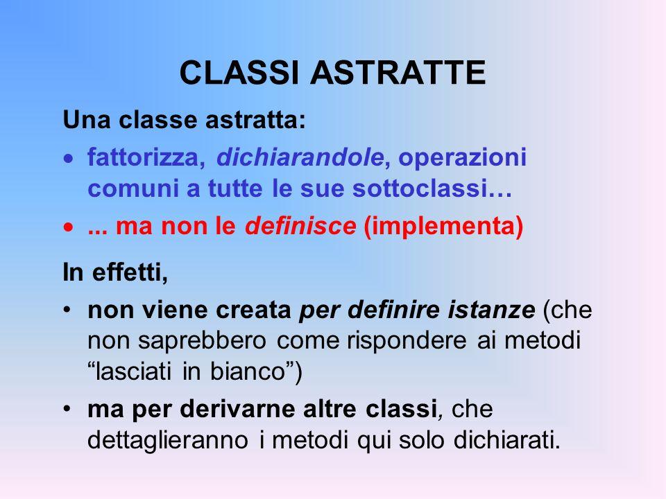 CLASSI ASTRATTE Una classe astratta: