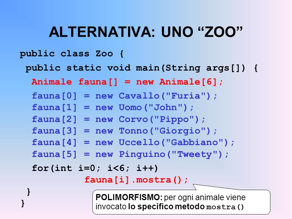 ALTERNATIVA: UNO ZOO
