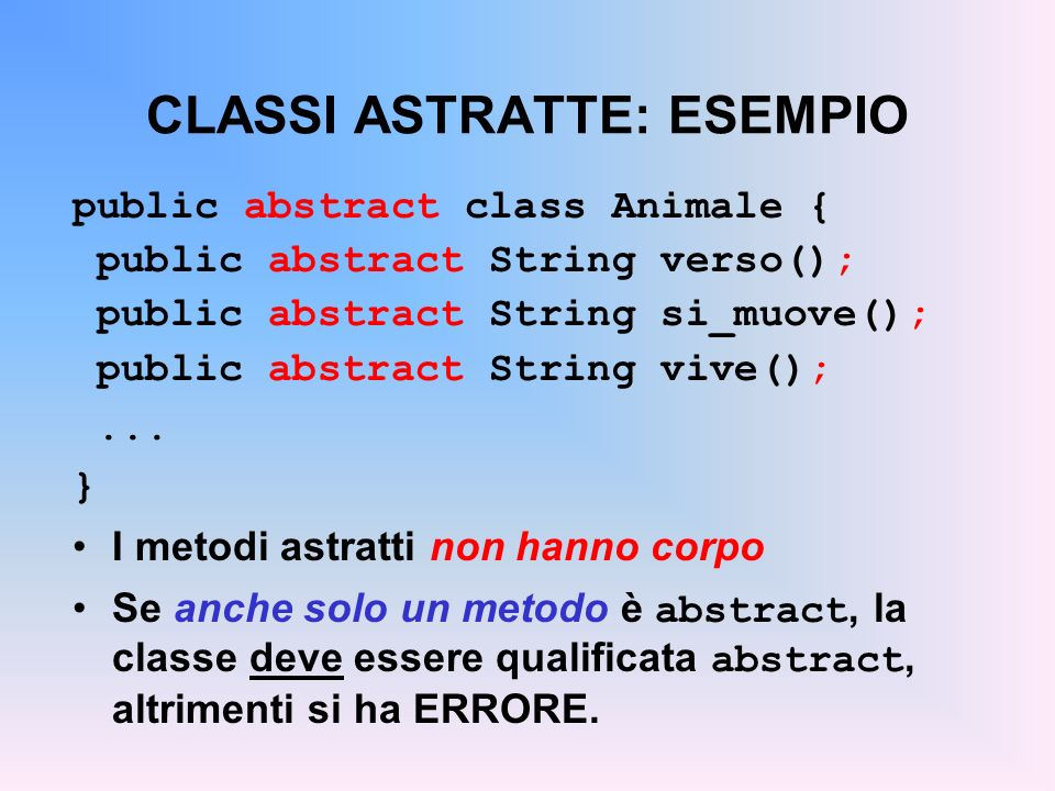 CLASSI ASTRATTE: ESEMPIO