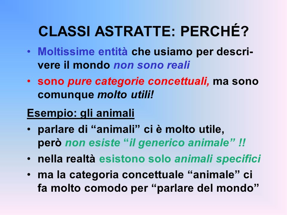 CLASSI ASTRATTE: PERCHÉ
