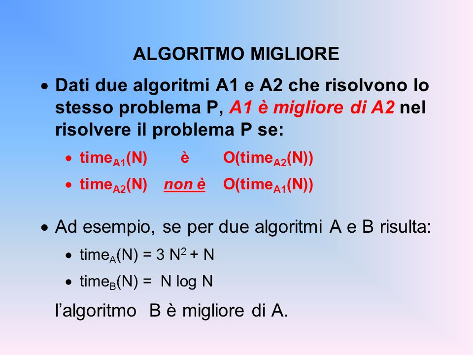 Ad esempio, se per due algoritmi A e B risulta: