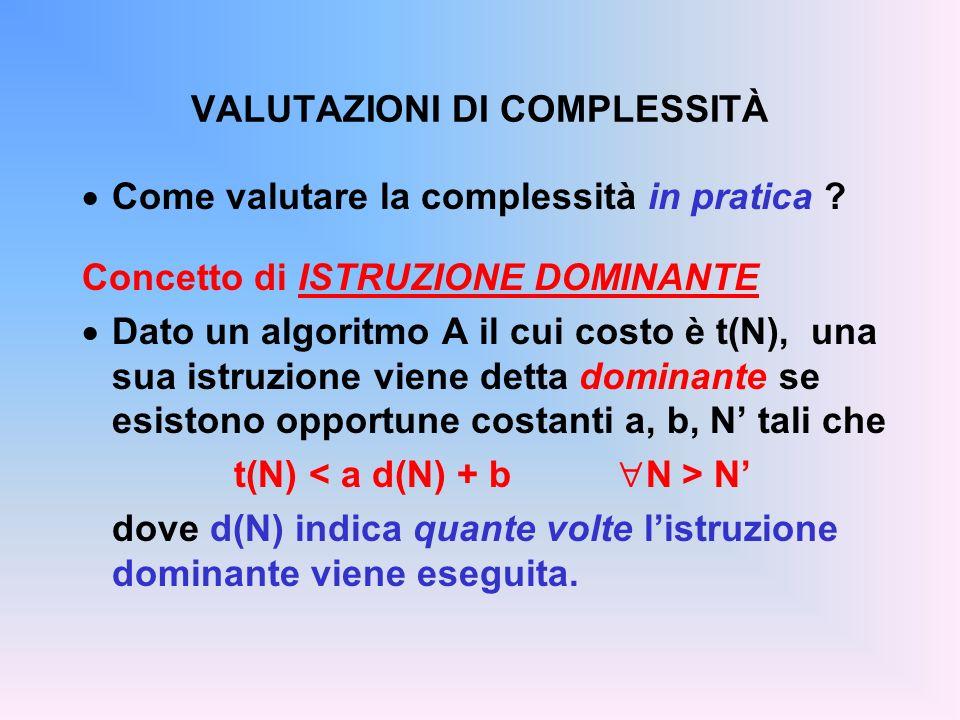 VALUTAZIONI DI COMPLESSITÀ