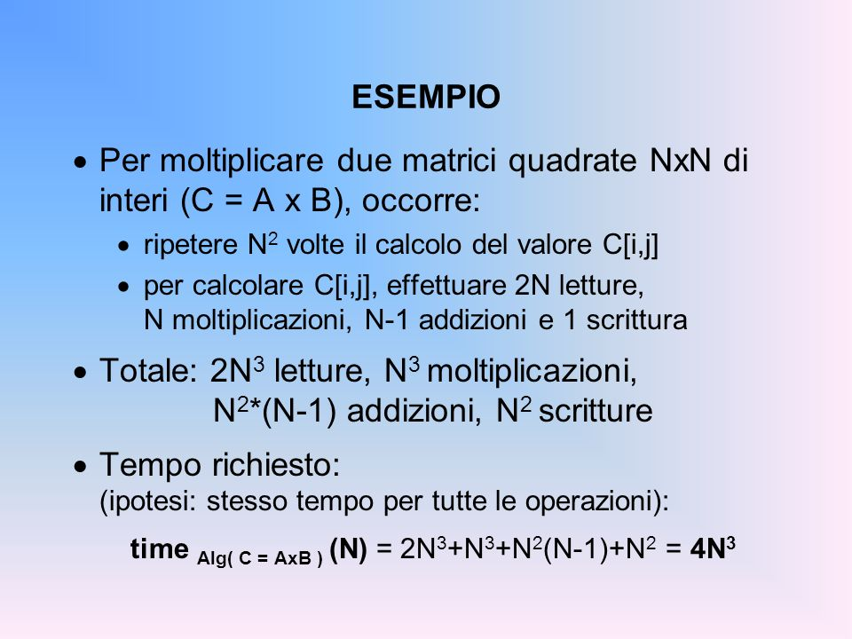 time Alg( C = AxB ) (N) = 2N3+N3+N2(N-1)+N2 = 4N3