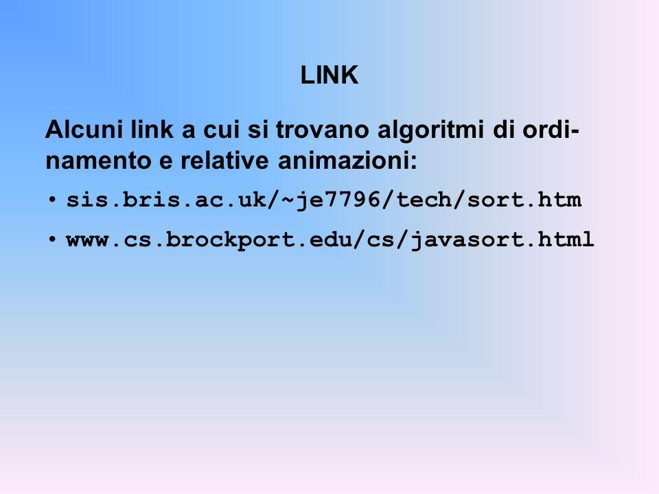 Alcuni link a cui si trovano algoritmi di ordi-