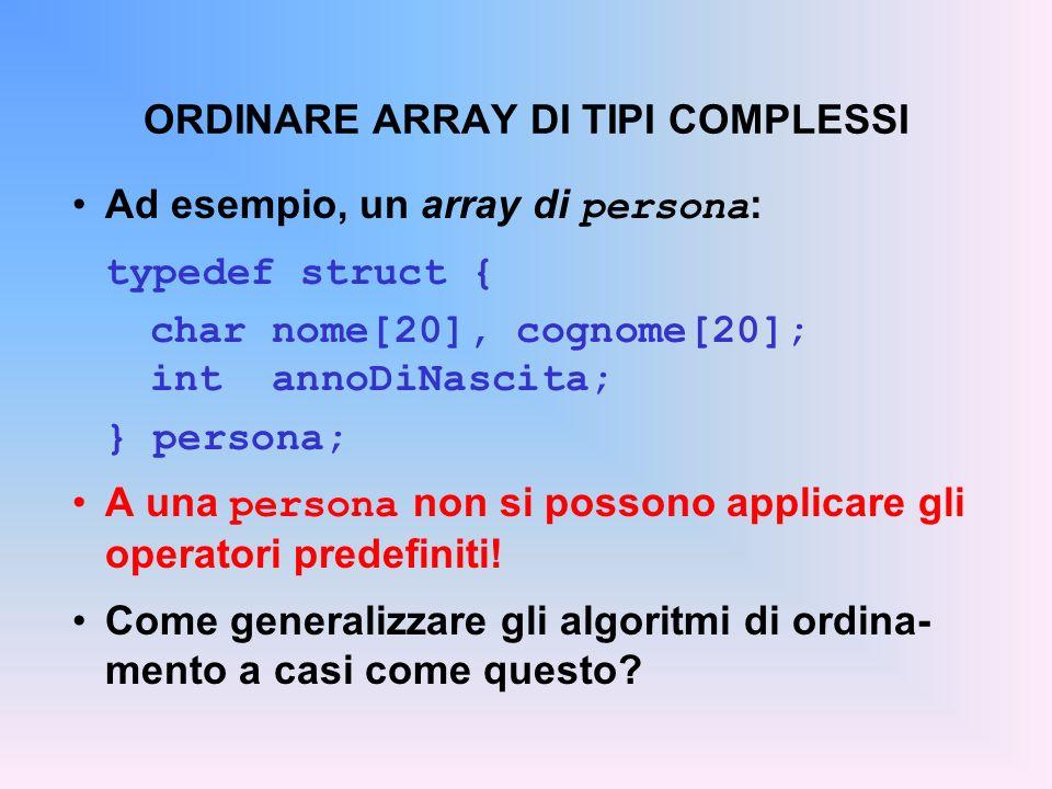 ORDINARE ARRAY DI TIPI COMPLESSI