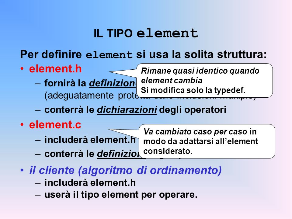 Per definire element si usa la solita struttura: element.h