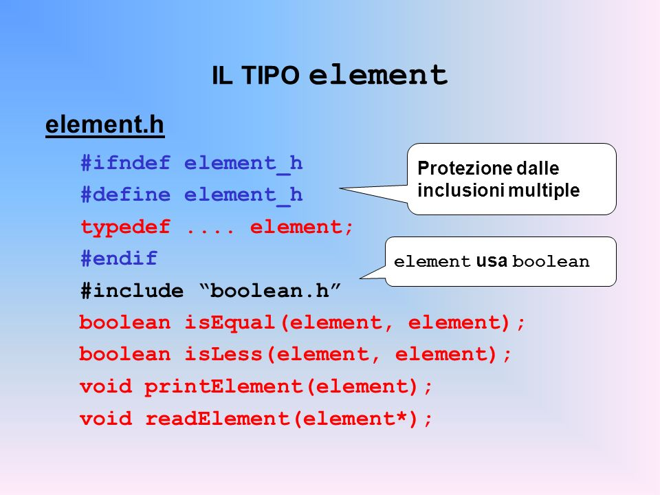 IL TIPO element element.h #ifndef element_h #define element_h