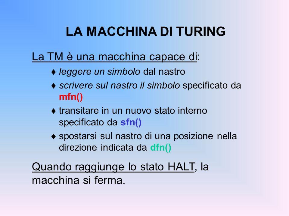 LA MACCHINA DI TURING La TM è una macchina capace di: