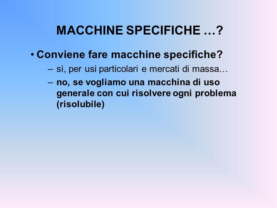 MACCHINE SPECIFICHE … Conviene fare macchine specifiche