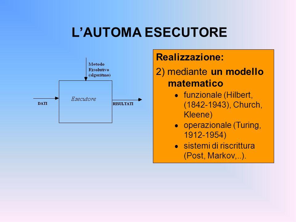 L'AUTOMA ESECUTORE Realizzazione: 2) mediante un modello matematico