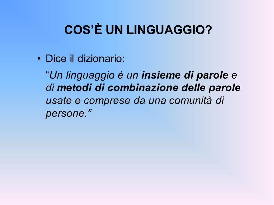 COS'È UN LINGUAGGIO Dice il dizionario: