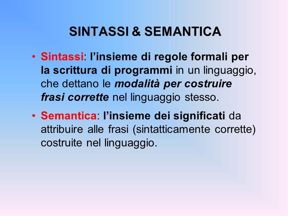 SINTASSI & SEMANTICA