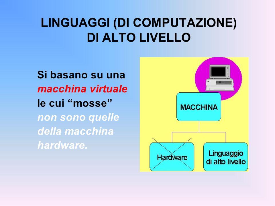 LINGUAGGI (DI COMPUTAZIONE) DI ALTO LIVELLO