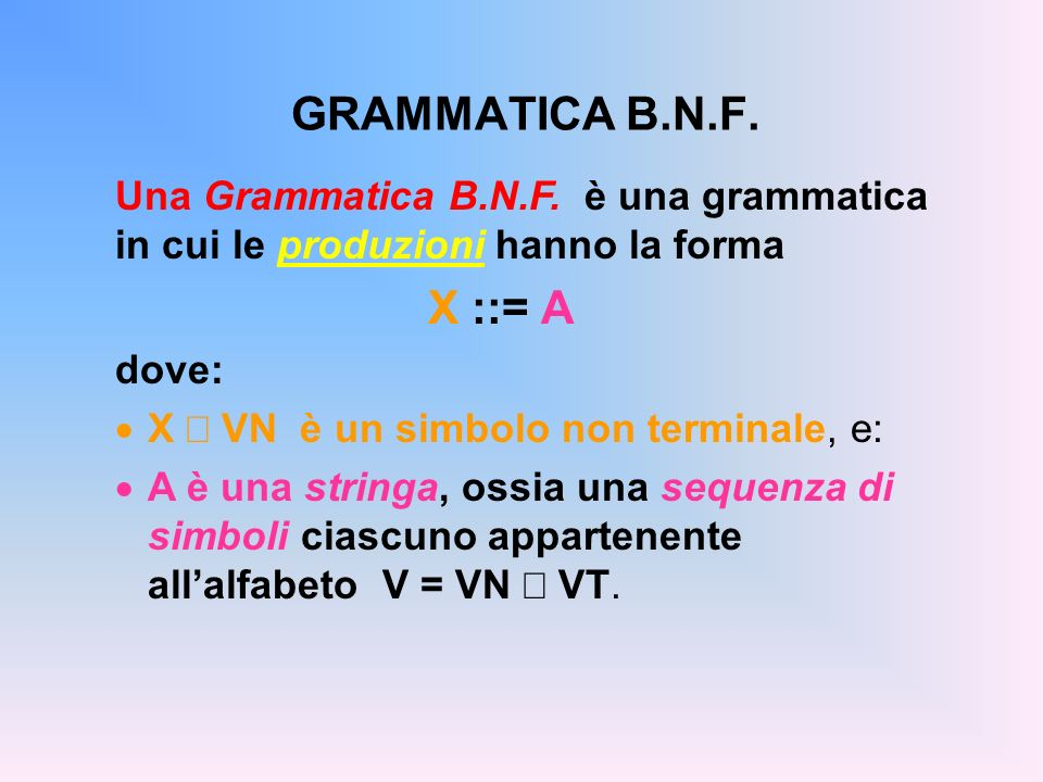 GRAMMATICA B.N.F. Una Grammatica B.N.F. è una grammatica