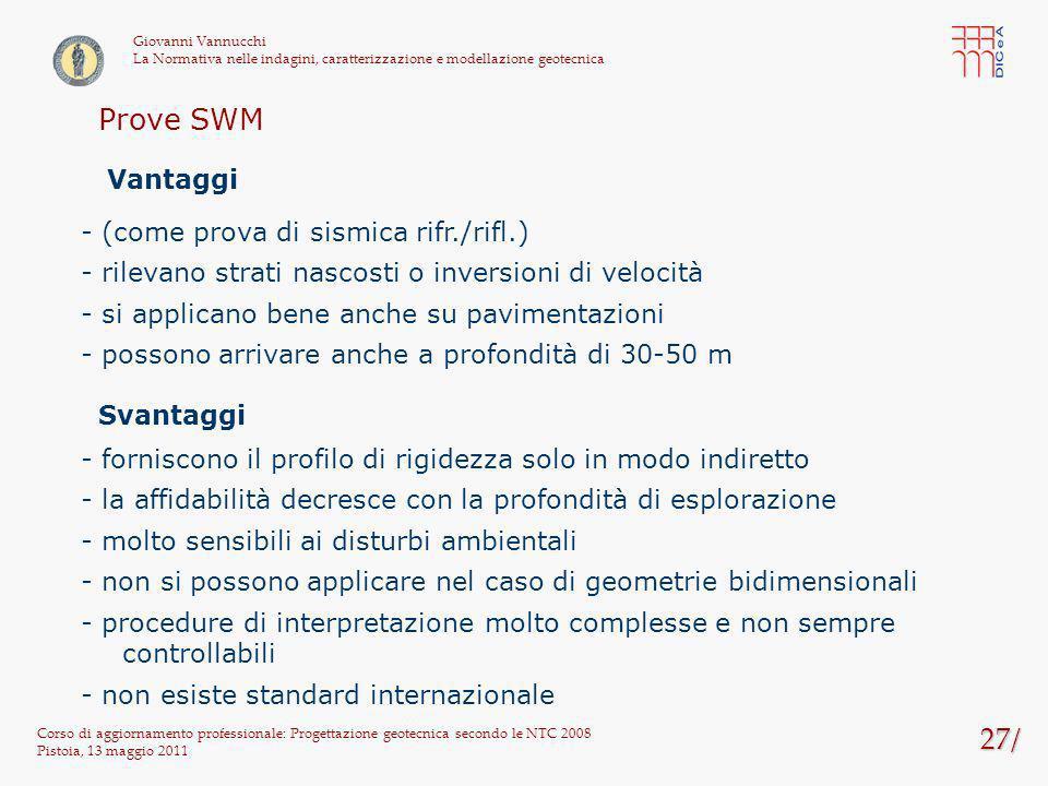 Prove SWM 27/ Vantaggi - (come prova di sismica rifr./rifl.)
