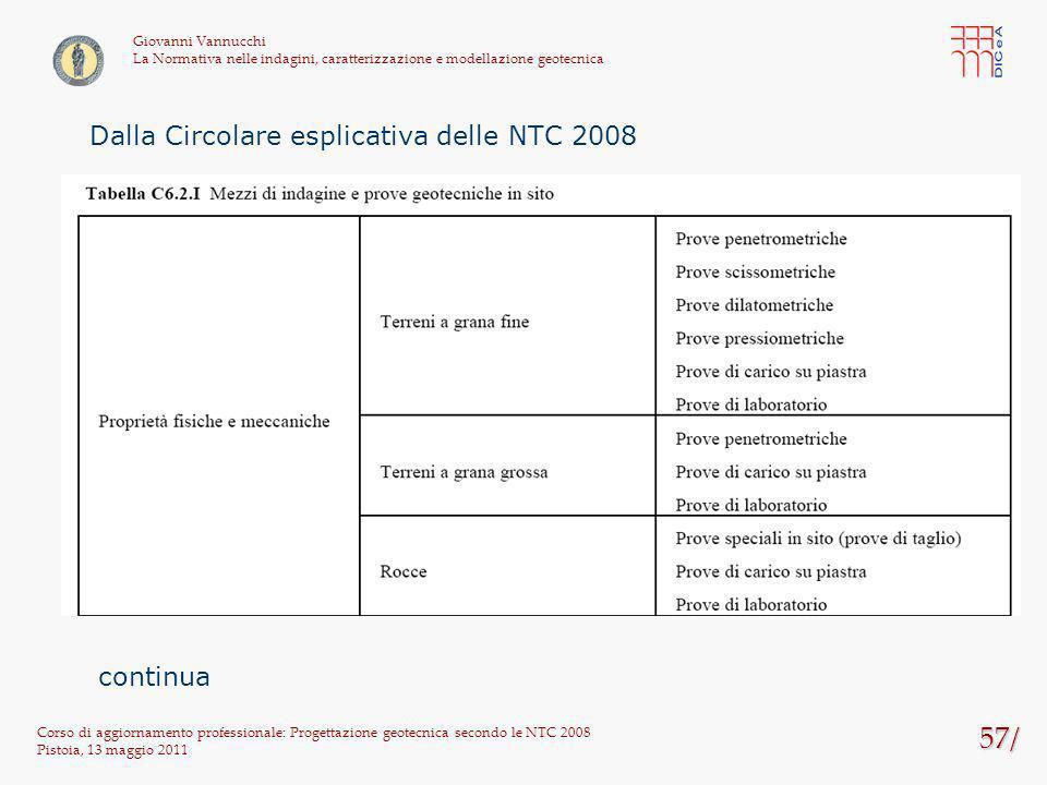 57/ Dalla Circolare esplicativa delle NTC 2008 continua